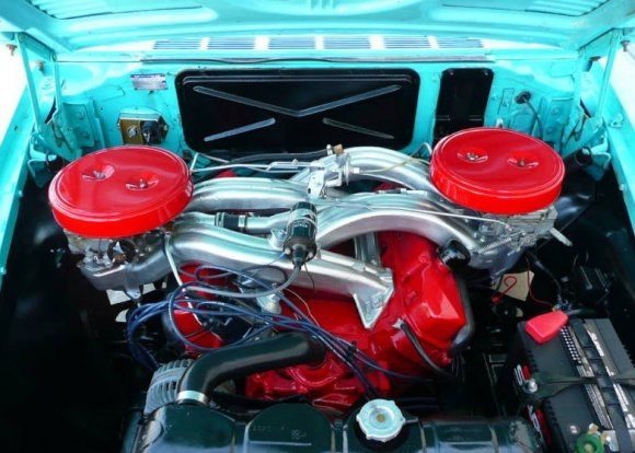 Cross ram intakes-1961_dodge_seneca_413_max_wedge_sedan_engine_1-jpg