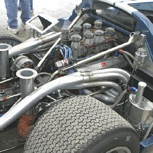 Lola T70 Mk IIIB engine compartment
